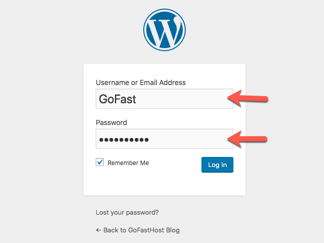 GoFast Blog WordPress Admin Girisi