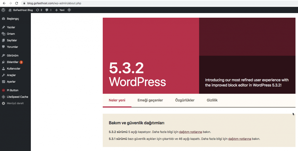 Wordpress guncellendi